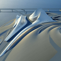 A proposed design for an opera house and cultural centre on an island off  the Khor Dubai. Developed by Zaha Hadid Architects