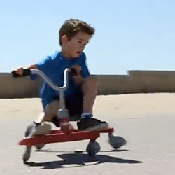 Radio Flyer ZIGGLE! You can wiggle and drift around in this new tricycle looking contraption! Cute video with kids and a dog ziggling around the boardwalk...