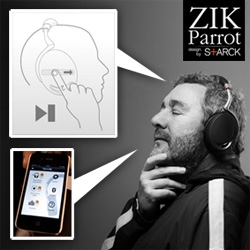 Zik Parrot by Starck ~ a new headphone that incorporates bluetooth/NFC pairing, capacitative touch panel swiping, motion sensor pausing, bone conduction senso and active noise cancelation, and even has an app to control it all.