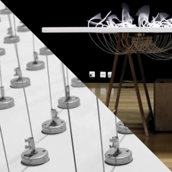 Swiss artist Zimoun 'Sound Sculptures and Installations' use simple, physical systems in different arrays to create quite interesting spatial effects.