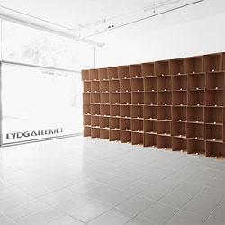 138 prepared dc-motors, cotton balls, cardboard boxes 40x40x40cm by sound artist Zimoun. Check out the video!