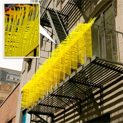 Tuft vs. Turf (Fire Escape) is an installation made with zip ties by Brian Jobe.