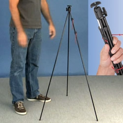 Zip Shot Tripod ~ a tripod made of what look like tent poles... super light weight and portable!