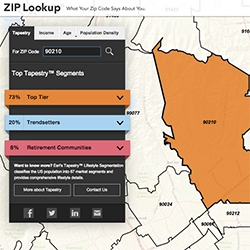ESRI's Zip Lookup - put in a US zip code to explore demographic data and more. Nice UI.