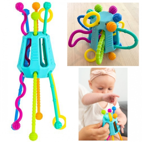 Mobi Zippee - a silicone fidget/baby toy for 6 months and up. So many textures and areas to teeth on, surfaces to grip, and ways to push and pull while developing and fine tuning motor skills.