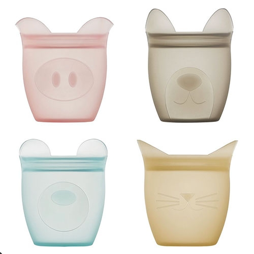 Zip Top now has Baby Snack Containers - Pig, Bear, and Dog exclusive to Target, and Cat coming soon to their site. Super cute in person, we use the silicone dishes the most at NOTCOT for snacks.