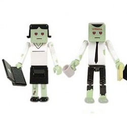 Just in time for halloween - Corporate zombie cube guys that glow in the dark - Please tell me you'll take action if my overworking leads me to be a laptop wielding zombie?
