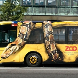 Copenhagen Zoo : impressive ambient marketing on public bus. By Bates Y&R.