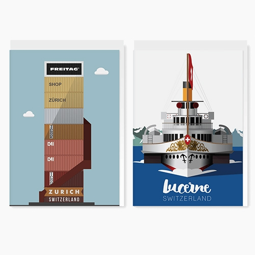 LEKKA's Tour de Suisse is a range of 12 graphic illustrations by designer Gareth Knott. Selecting icons of Switzerland and re-imagining them in a retro nostalgic way paying homage to times gone by. available as prints on wood, notebooks, cards.