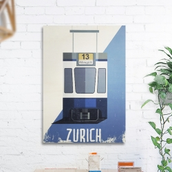 Illustrated 'Icons of Zürich' print transfers on wood allow the rough texture of the wood and transfer process to give an organic original result. No two pictures are the same, as this process is done by hand.  The ultimate Icon of Zürich are the beautifully maintained trams that roll up and down the streets, many Zürkers take pride in their regular tram, look out for future customised trams.