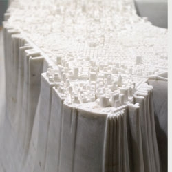 Island by Yutaka Sone at David Zwirner, a map of Manhattan carved from marble.